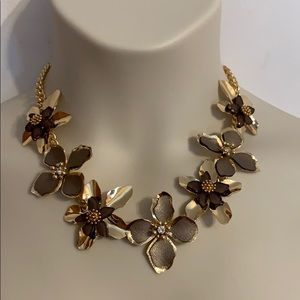 Torrid gold tone and brown floral necklace